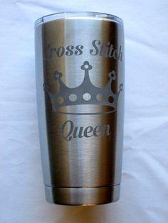 Cross Stitch Queen Stainless Tumbler (3 sizes- 10 oz, 20 oz, 30 oz)