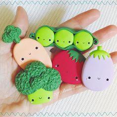 #kawaii #vegetables #broccoli #carrot #peas #eggplant #tomato