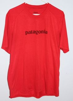 PATAGONIA Large Mens Graphic T Shirt  Red Polyester Tee Unisex Womens Men's #Patagonia #TShirt