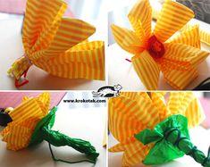 как се правят цветя от тънка креп хартия