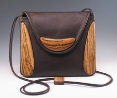 Wood and Leather - Hand Carved Handbags  By Kimberly Chalos