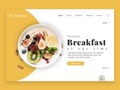 A landing page concept for a website that will give out lots of yummy recipes! #yellow #foodie #foodlover #breakfast #uidesign #uxdeisgn #website #landingpage Food Web Design, Site Web Design, Website Design Layout, Web Layout, Website Design Inspiration, Menu Design, Ui Design, Layout Design, Website Designs