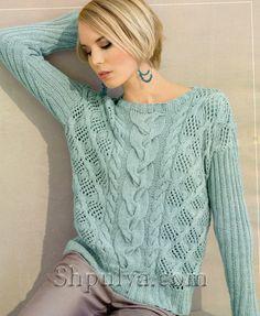 Узорчатый пуловер мятного цвета