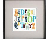 8x10 Colorful Vintage Boys Alphabet Nursery Art Print by bellabyte