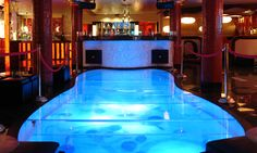 Dance floor at QUA Austin...sharks below...sharks on the dance floor!