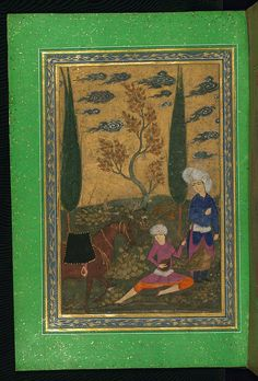 Album of Persian miniatures and calligraphy, Man playing a stringed instrument in a landscape, Walters Manuscript W.671, fol.33a