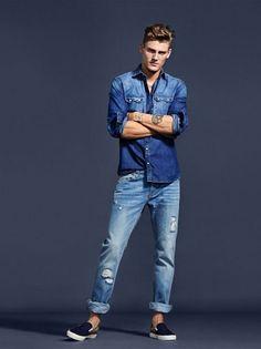 Nice style. Mikkel Jensen for Mango Men Denim S/S 2015 http://www.99wtf.net/men/mens-fasion/dressing-styles-girls-love-guys-shirt-included/
