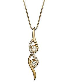 Sirena Diamond Two-Stone Spiral Pendant Necklace in 14k Gold (1/4 ct. t.w.)