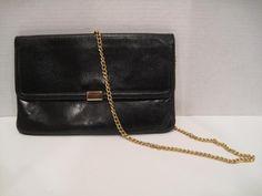 3bc0863f159 Black leather gold strap vintage 80 s purse Vintage Purses, Black Leather, Vintage  Handbags