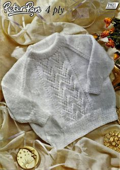 "PDF Peter Pan Knitting Pattern #P821, 4Ply, Sz18-20"" Sweater Jumper Pullover"