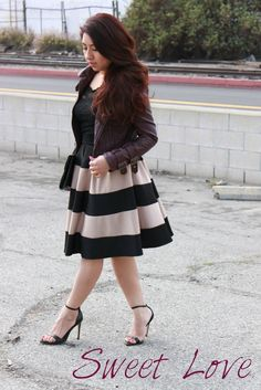 I love the thick stripes for the skirt and how the leather jacket adds edginess to the look