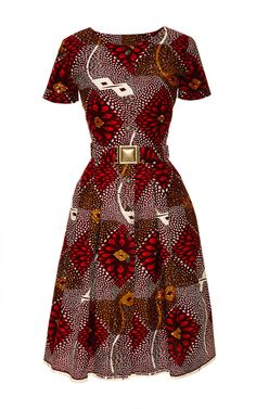 Togo Dress In Red Dahlia Print by Lena Hoschek ~Latest African fashion, Ankara, kitenge, African wom African Dresses For Women, African Print Dresses, African Attire, African Fashion Dresses, African Wear, African Women, African Prints, African Outfits, African Style