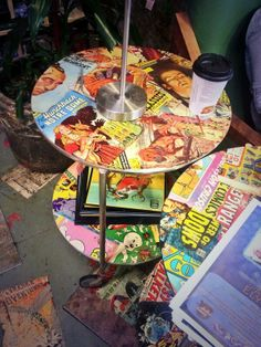 Decoupage comic book tables at House of Secrets comic shop at Burbank.