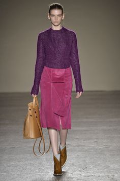The trick to pulling off dress-up-princess pink and purple? Slick, utilitarian pieces, like this sweater and skirt from Gabriele Colangelo.   - MarieClaire.com