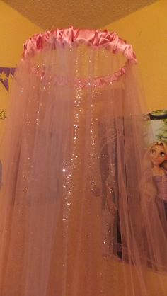 Tulle Bed Canopy with shimmer fabric beneath