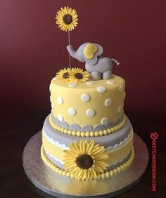 Elephant and Sunflower Baby Shower Cake - - Elephant Baby Shower Cake, Elephant Cakes, Elephant Food, Elephant Birthday, Baby Girl Shower Themes, Baby Shower Decorations, Shower Centerpieces, Girl Baby Shower Cakes, Baby Theme