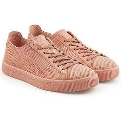 Puma Perforated Leather Sneakers ($139) ❤ liked on Polyvore featuring shoes, sneakers, pink, puma shoes, pink sneakers, puma trainers, leather trainers and perforated leather shoes