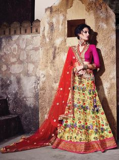 Silk and net digital print lehenga choli for daytime functions.