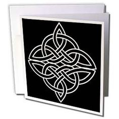 Amazon.com: Celtic Designs - White Celtic Design On A Black Background - Greeting Cards-6 Greeting Cards with envelopes: Health & Personal Care