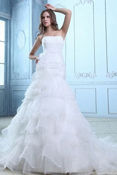 Trumpet/Mermaid Strapless White Bridal Dresses sfp0536 - http://www.shopforparty.com/trumpet-mermaid-strapless-white-bridal-dresses-sfp0536.html - COLOR: White; SILHOUETTE: Trumpet/Mermaid; NECKLINE: Strapless; EMBELLISHMENTS: Flower , Layered , Ruched; F