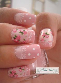 Pink roses with lace, white dots. Love the vintage style. http://www.jexshop.com/