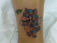 Mario autism tattoo. Reminds me of my brother for sure!