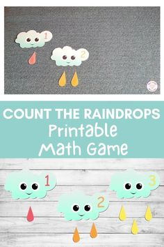 Want a cute preschool math game to help your little learners develop their counting and number recognition skills?  Then why not try this cute preschool weather math game?  Print it from Nurtured Neurons today!  #preschoolweather #preschoolmath #preschoolprintables #weatheractivities  #weatherprintables