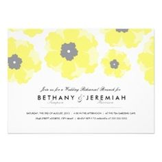 Yellow Floral Wedding Rehearsal Dinner Party Invitations by Origami Prints   #yellow #flowers #flower #bright #invitations #design #cute #elegant #modern