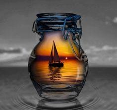 ship in a bottle,,,color splash,,,,