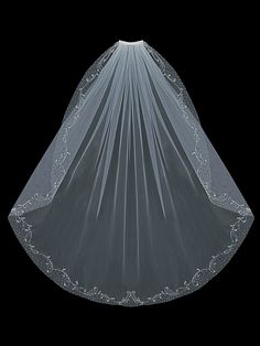 Beautifully Beaded Fingertip Wedding Veil by Envogue -- Affordable Elegance Bridal -