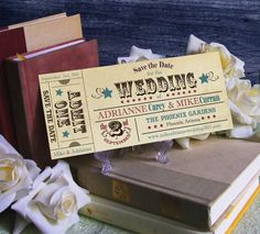 Vintage Ticket Save the Date Wedding Invitation by CottontailPress