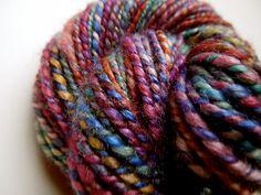 Jewel-toned 2 ply yarn, BFL/Silk, lovely sheen and drape.  pushkin3 on ravelry