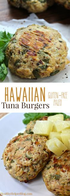 Hawaiian Tuna Burgers—gluten-free, paleo burgers with a tropical twist. Low in fat and high in protein. Tuna Burgers, Fish Burger, Healthy Snacks, Healthy Eating, Healthy Recipes, Protein Recipes, Pineapple Recipes Healthy, Paleo Fish Recipes, Party Recipes