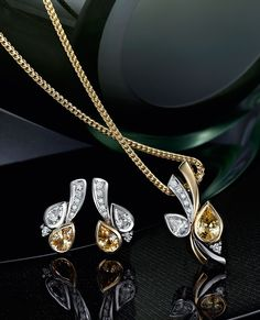 yellow and white gold sapphire and diamond pendant, & yellow and white gold sapphire and diamond earrings Sapphire And Diamond Earrings, Diamond Pendant, Somerset West, Jewelry Collection, White Gold, Vans, Seasons, Jewels, Yellow