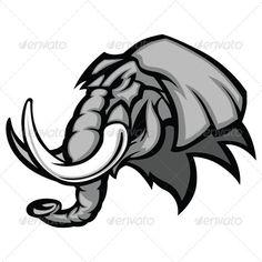 Elephant Mascot Head Vector Graphic Wild Elephant, Elephant Logo, Elephant Head, Mascot Design, Animal Logo, Modern Logo, Logo Design Services, Character Design, Alabama Crimson