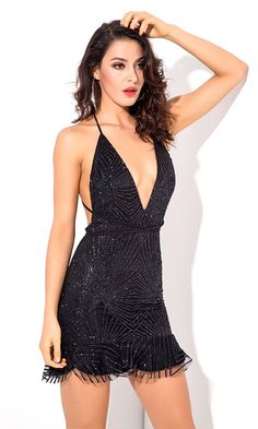 Light A Fire Black Glitter Geometric Pattern Sleeveless Spaghetti Strap Plunge V Neck Backless Ruffle Bodycon Mini Dress - Sold Out Sexy Outfits, Sexy Dresses, Beautiful Dresses, Fashion Outfits, Women's Fashion, Beautiful Girl Image, Petite Women, Party Dress, Backless