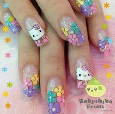nails Kawaii Nail Art, Cute Nail Art, Stiletto Nail Art, Cute Acrylic Nails, Pastel Nails, Hello Kitty Nails, Nails For Kids, Red Nail Designs, Cat Nails