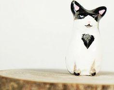 Totem gato personalizado / / escultura de arcilla de polímero hecho para parecerse a su gato!