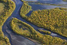 Aerial view over Laitaure delta, Sarek National Park, Laponia ...