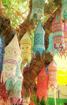 ⋴⍕ Boho Decor Bliss ⍕⋼ bright gypsy color & hippie bohemian mixed pattern home decorating ideas - moroccon lanterns