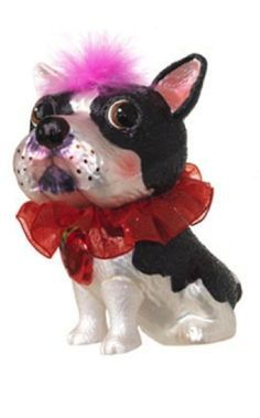 "4.5"" Whimsical Glass Boston Terrier Red Collar Christmas Ornament"