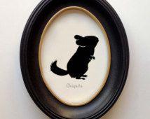 FRAMED Chinchilla Silhouette - Hand-cut Original Silhouette Art Design:OA-CHI01