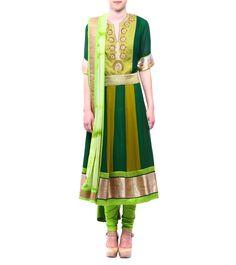 Shades Of Green Georgette & Chiffon Anarkali With Churidars & Dupatta #indianroots #ethnicwear #anarkali #churidar #dupatta #georgette #chiffon #occasionwear #eveningwear #summerwear