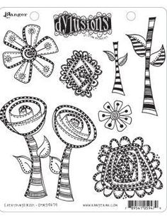 Ranger Dylusions Cling Stamp-Everything's Rosy
