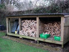 Homestead Landscaping: wood shed. I hate looking at the PILES of wood in our back yard! Need for camp