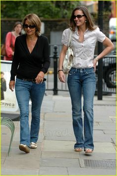 Kate and her mom Carole walking in London.