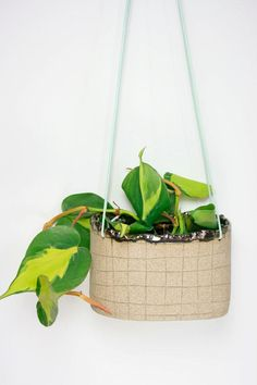 Cheer up an empty wall or window with a playful hanging ceramic planter. #etsyfinds