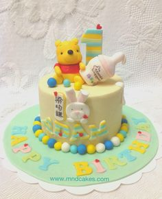 cute winnie the pooh baby cake One Year Birthday Cake, 1st Birthday Cakes, Baby Birthday, Birthday Ideas, Cupcakes, Cupcake Cakes, Winnie The Pooh Cake, Friends Cake, Cake Pictures