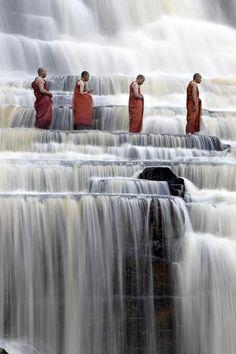 nonconcept:    Buddhist monks at Pongour Falls.