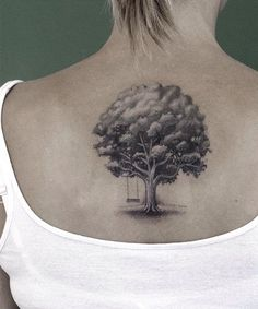Wonderful Tree Tattoo on the Back for Women